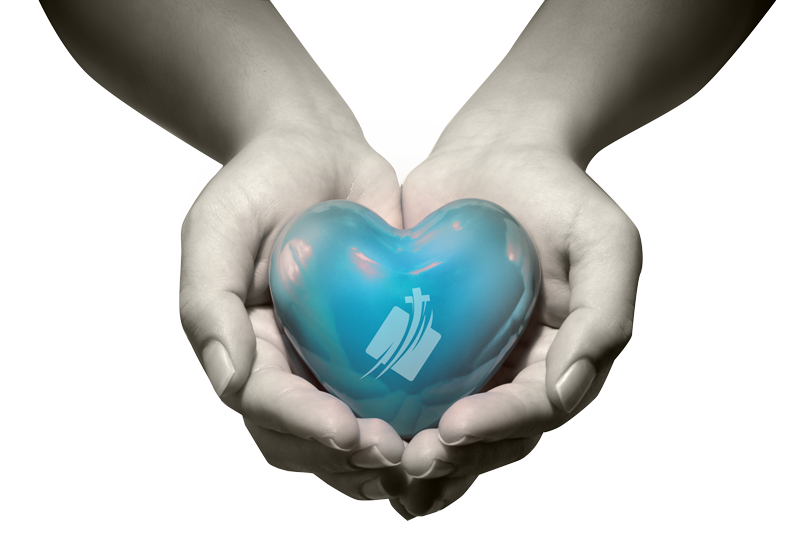 hands holding blue cyan heart with the grace road ministries international logo in white