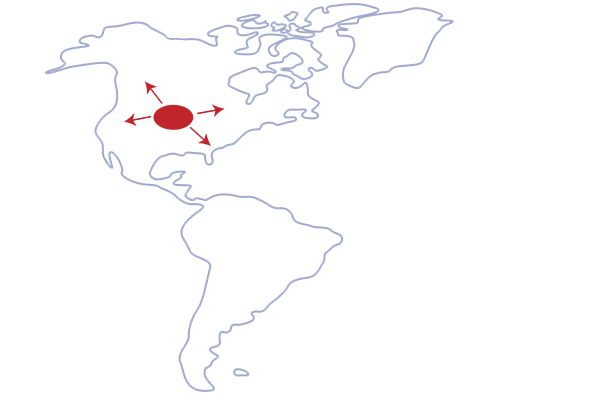 map of North America and South American continents with red dot spanning through the united states